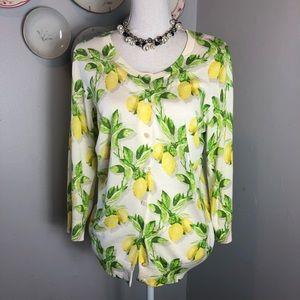 Talbot's Yellow Lemon Print Cardigan Sweater